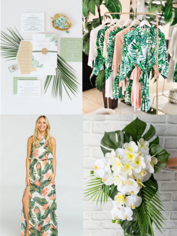 Dresses, flowers, invitations for tropical wedding