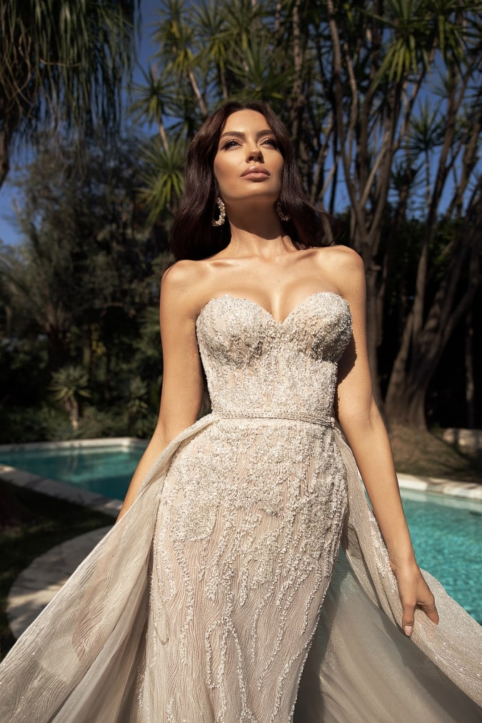 Beaded strapless bridal gown