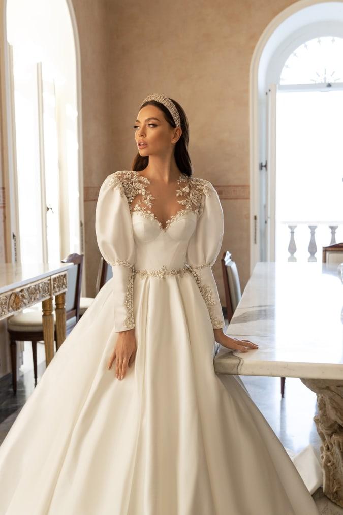 Puff sleeve embellished wedding dress