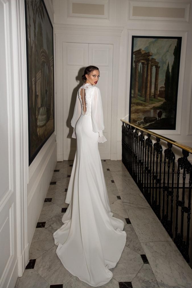 Back view of a blouson sleeve dress