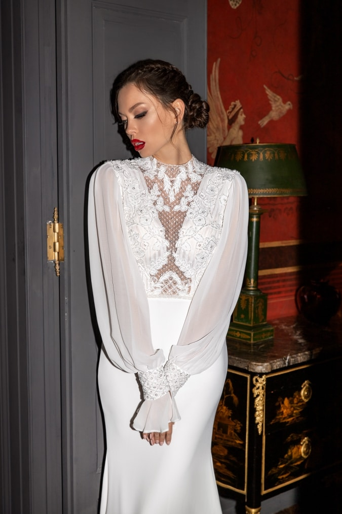 Cloose view of long sleeved wedding dress