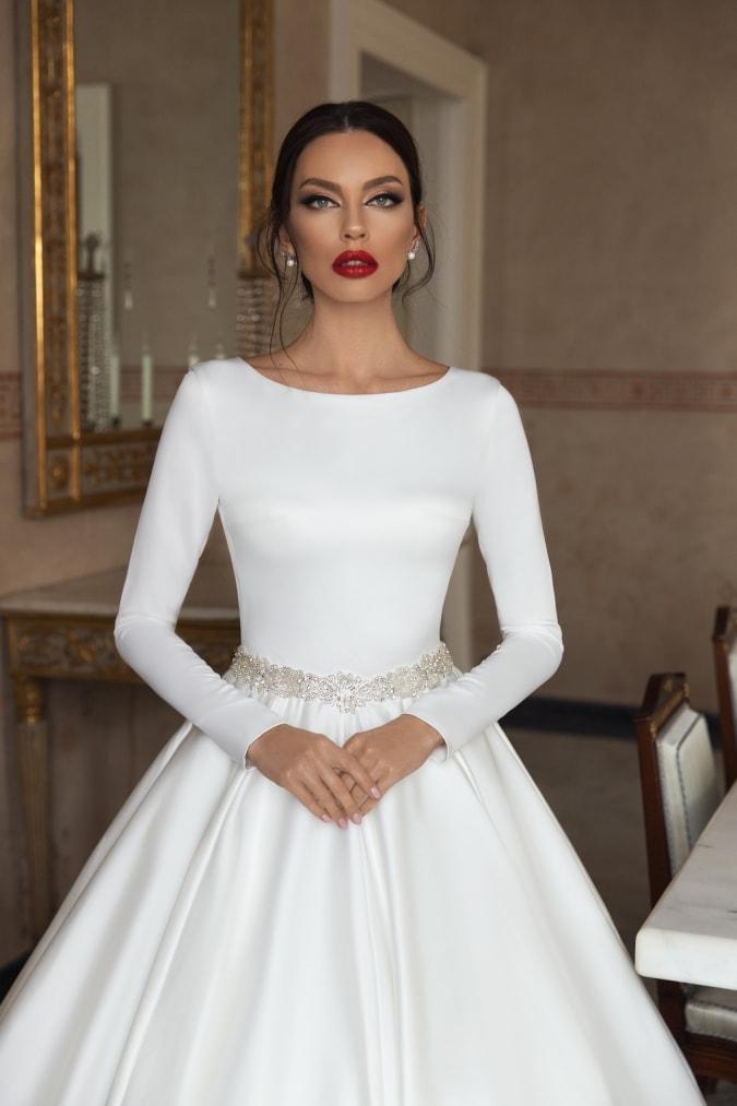 Modern long sleeve wedding dress