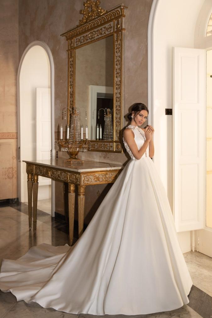 high neck sleeveless ballgown wedding dress