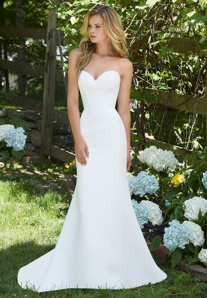 Bailey simple strapless wedding dress with sweetheart neckline