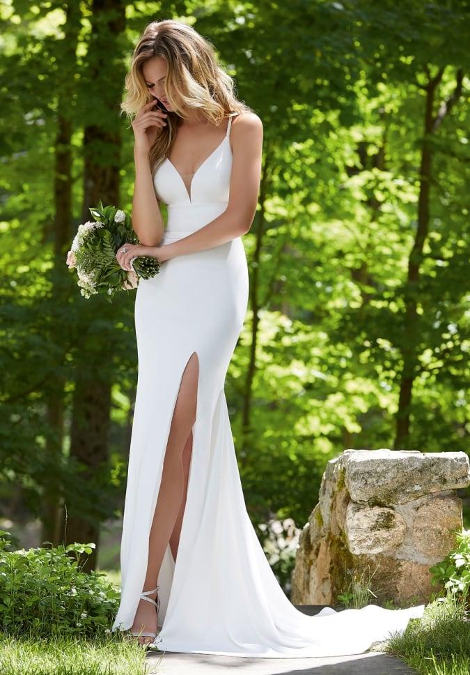 Bali plunge wedding dress with spaghetti straps