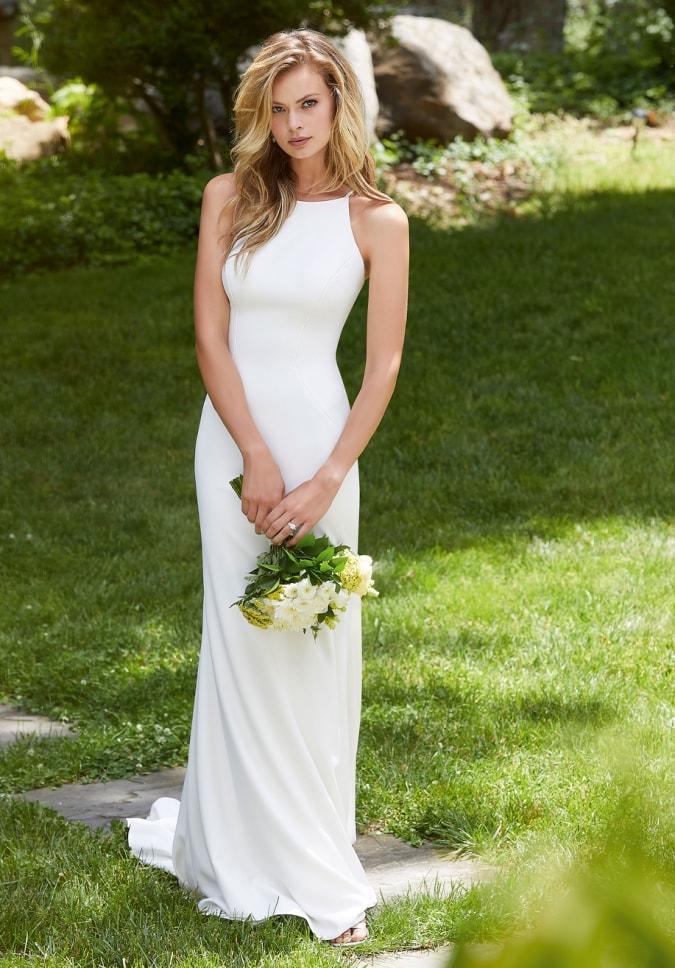 High neck halter ivory simple wedding dress