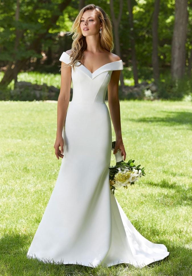 Off the shoulder simple ivory wedding dress