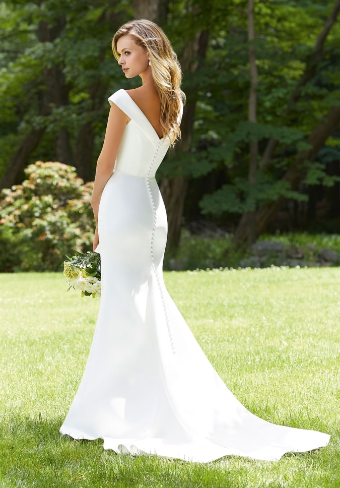 Off the shoulder v neck and back simple ivory gown