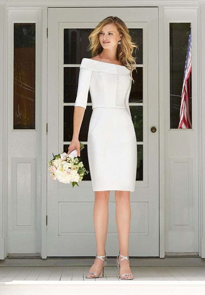 Short white boatneck suit dress for city hall wedding