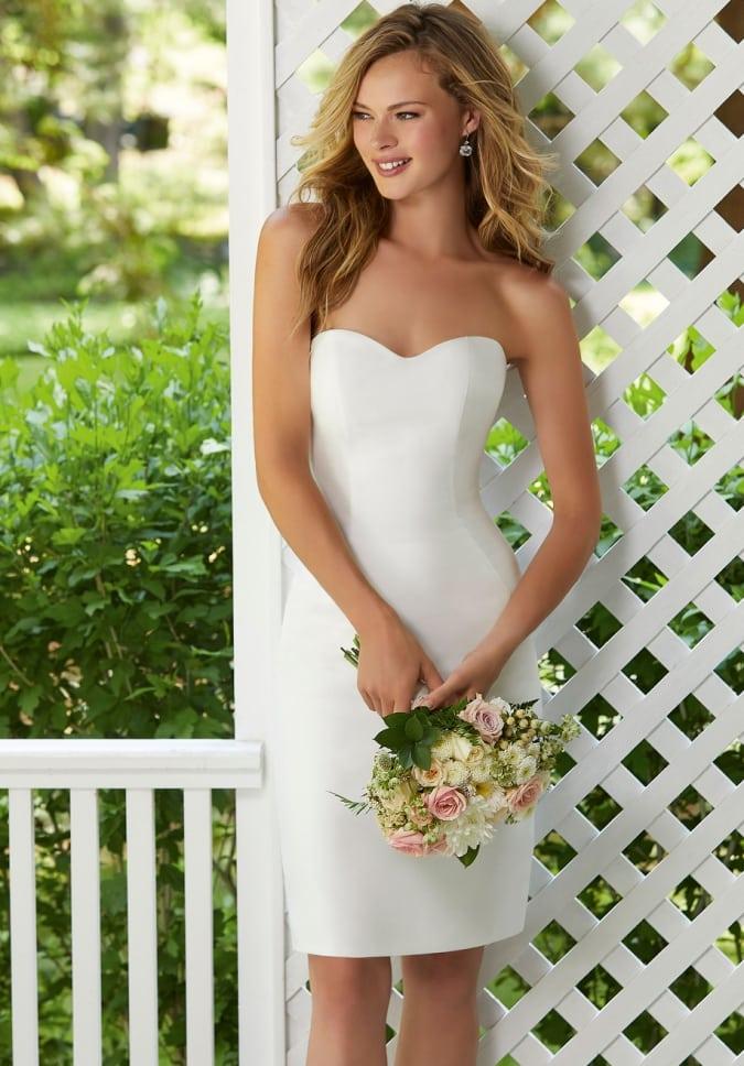 Strapless short white wedding dress