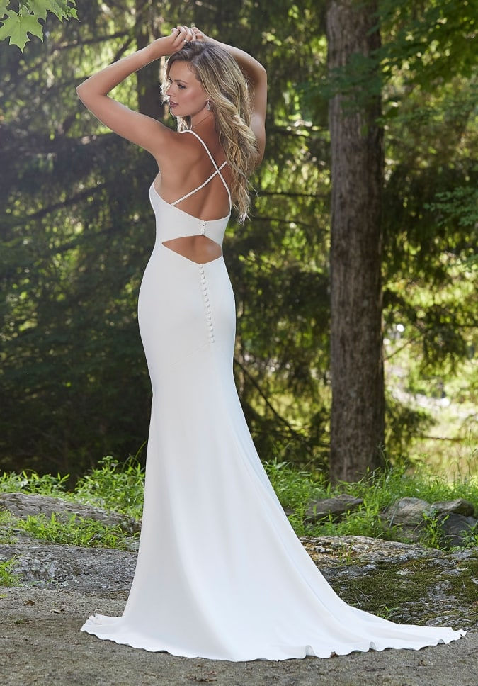 Modern simpe wedding dress with keyhole open back and straps