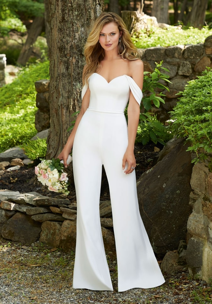 Satin strapless jumpsuit with detachable off the shoulder sleeves