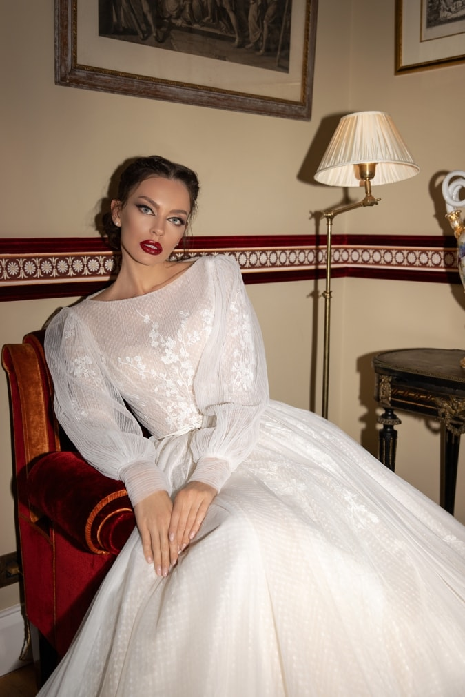 Puff sleeved designer couture bridal gown
