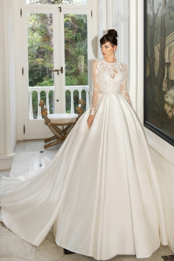 Silk ball gown wedding dress with long lace sleeves