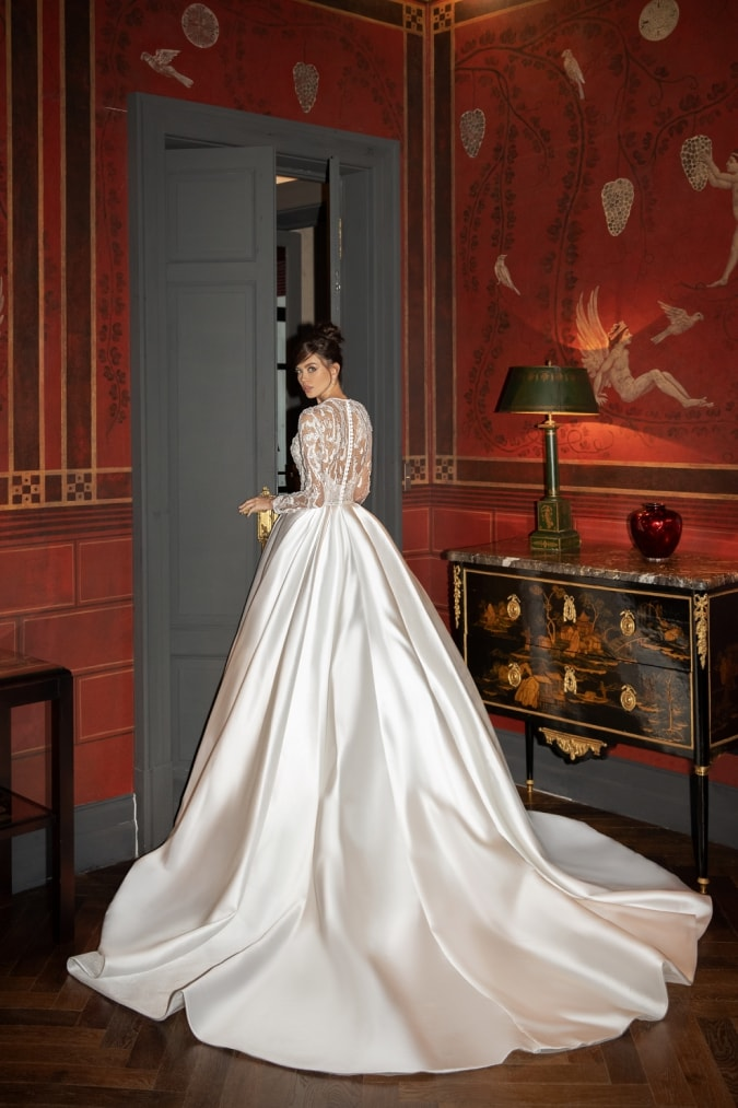 Pierina satin ballgown long sleeve embellished bridal gown