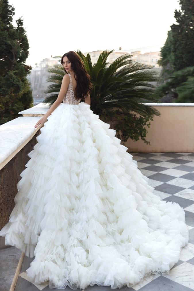 Tiered tulle ballgown wedding dress