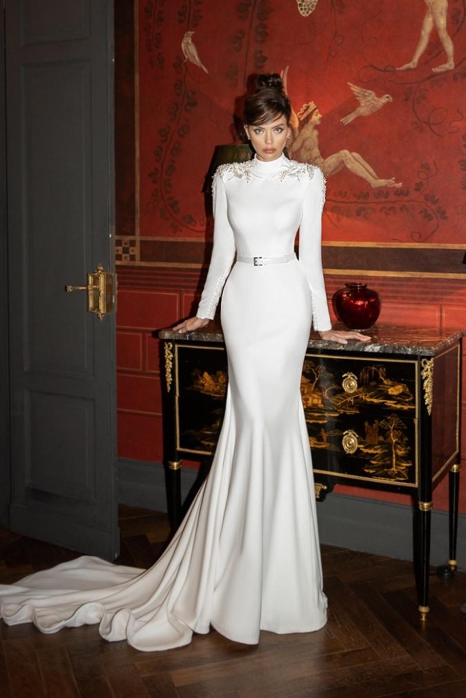 Mermaid hem long sleeve modern wedding dress