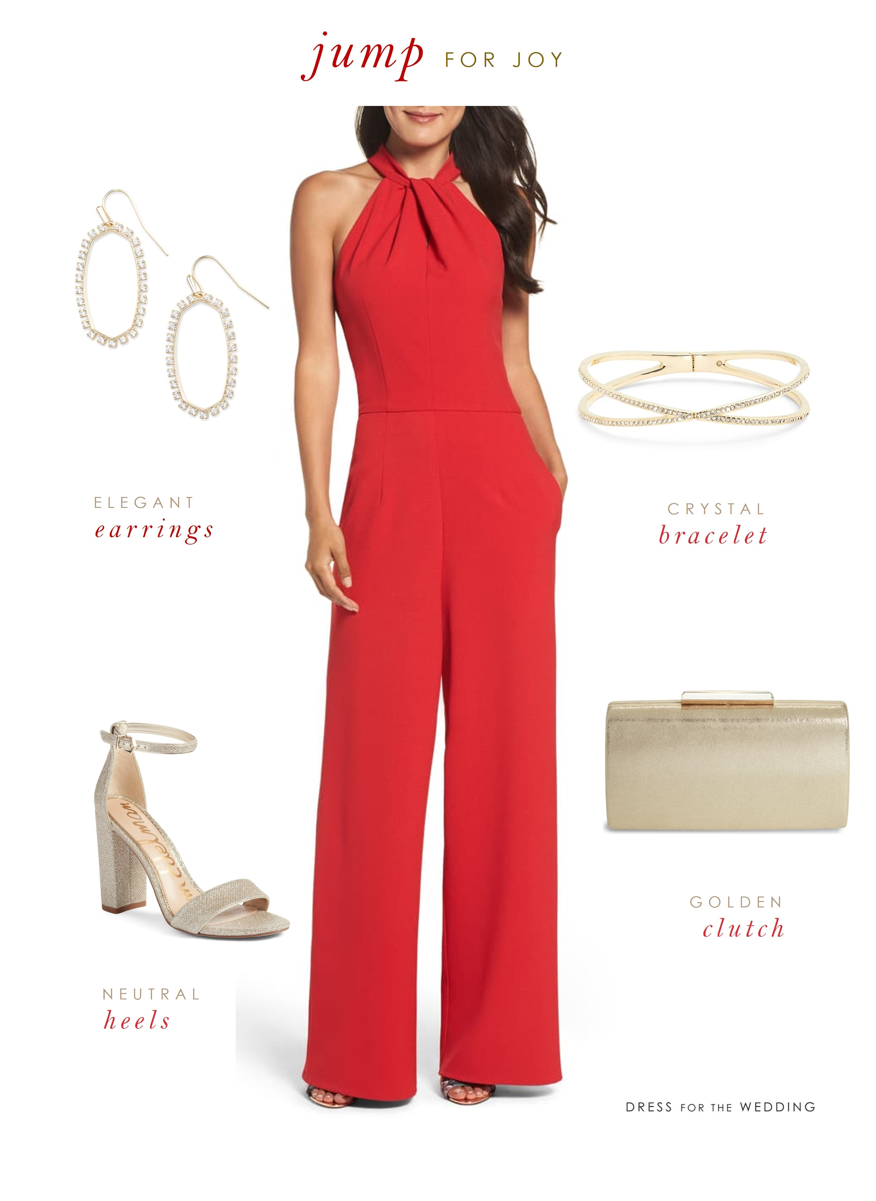 A holiday party outfit with a red halter jumpsuti and gold earrings bracelet, shoes and clutch