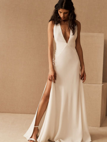 Silky plunge v neck white satin wedding dress