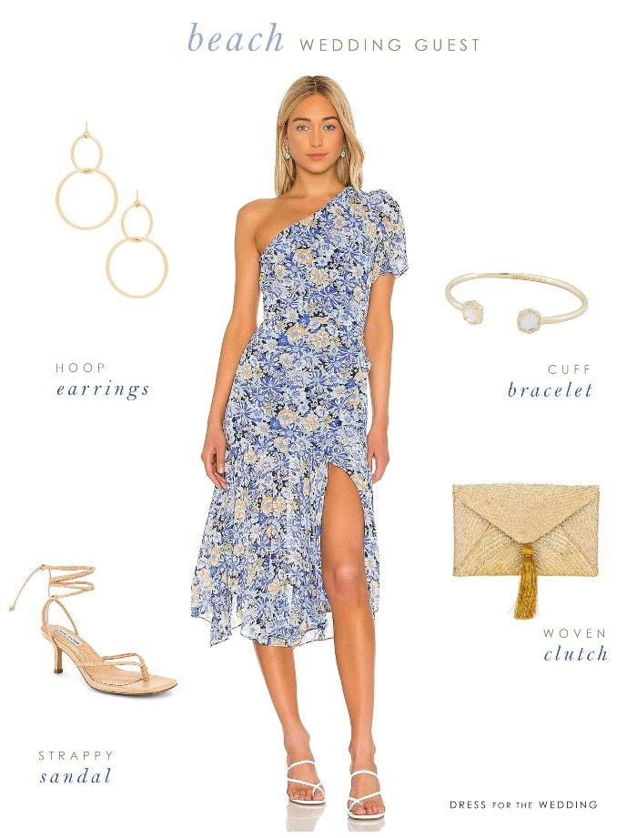 Beach wedding guest outfit with a blue floral dress and accessories