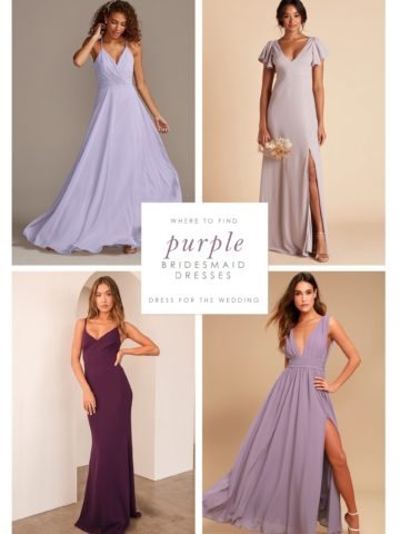 4 images of purple dresses on models arranged in a collage showing purple dresses for bridesmaids to wear.