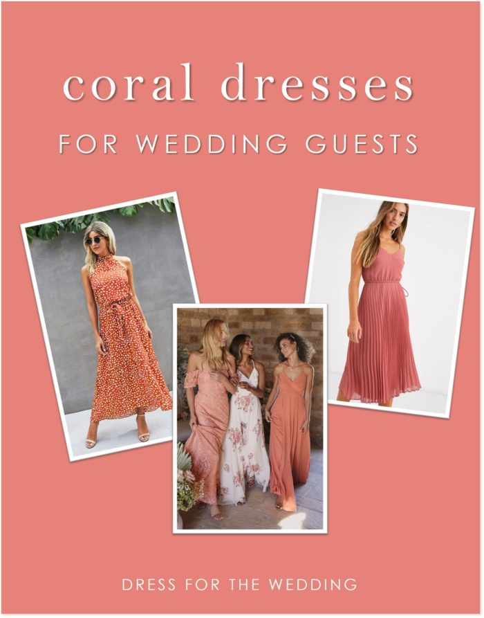 A collage of three pictures of models wearing coral dresses