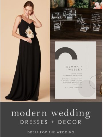 Long black dress, invitations, and wedding decor for a modern wedding