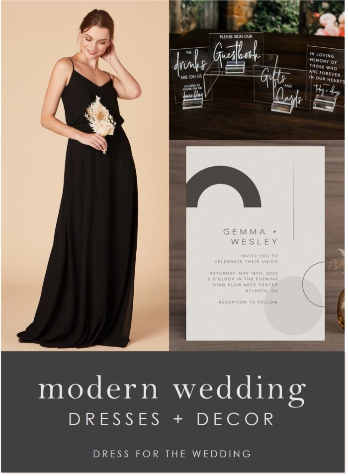 Long black dress, invitations, and wedding decor for a modern wedding