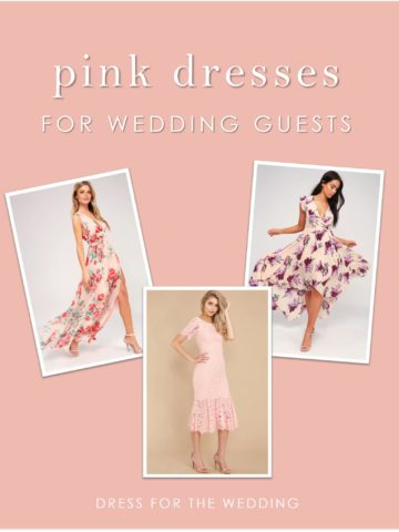 Thre pink dresses of various lengths for wedding guests to wear or to wear in a wedding