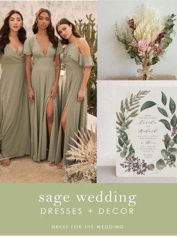 A collage of bridesmaids in green dresses, wedding invitation and a bouquet