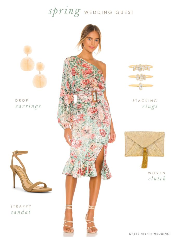 Spring wedding guest outfit with a one shoulder dress, earrings, clutch and shoes.