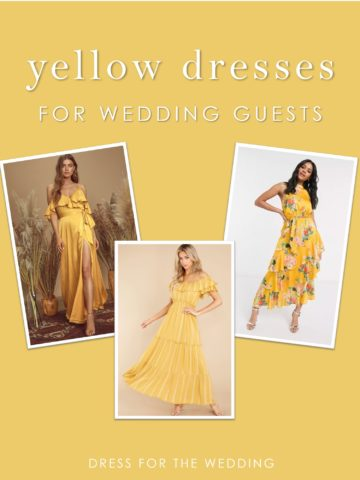 A collage of yellow dresses