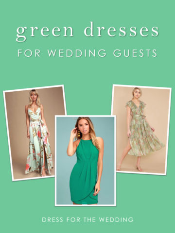 A collage of three green dresses to wear to a wedding as a guest.