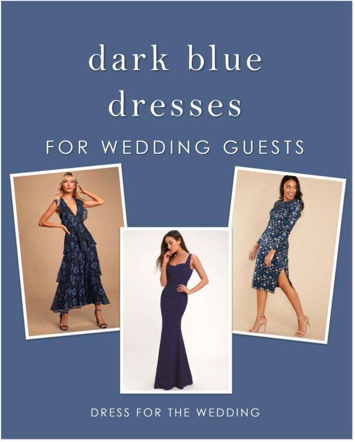 A collage of three dark blue dresses