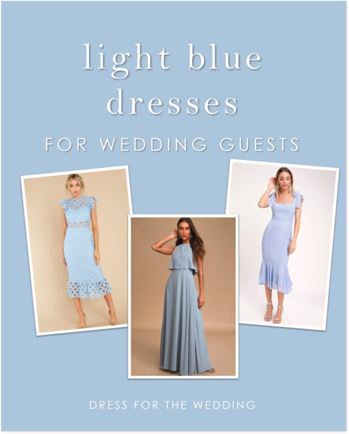 A collage of thre light blue dresses that are wedding appropriate