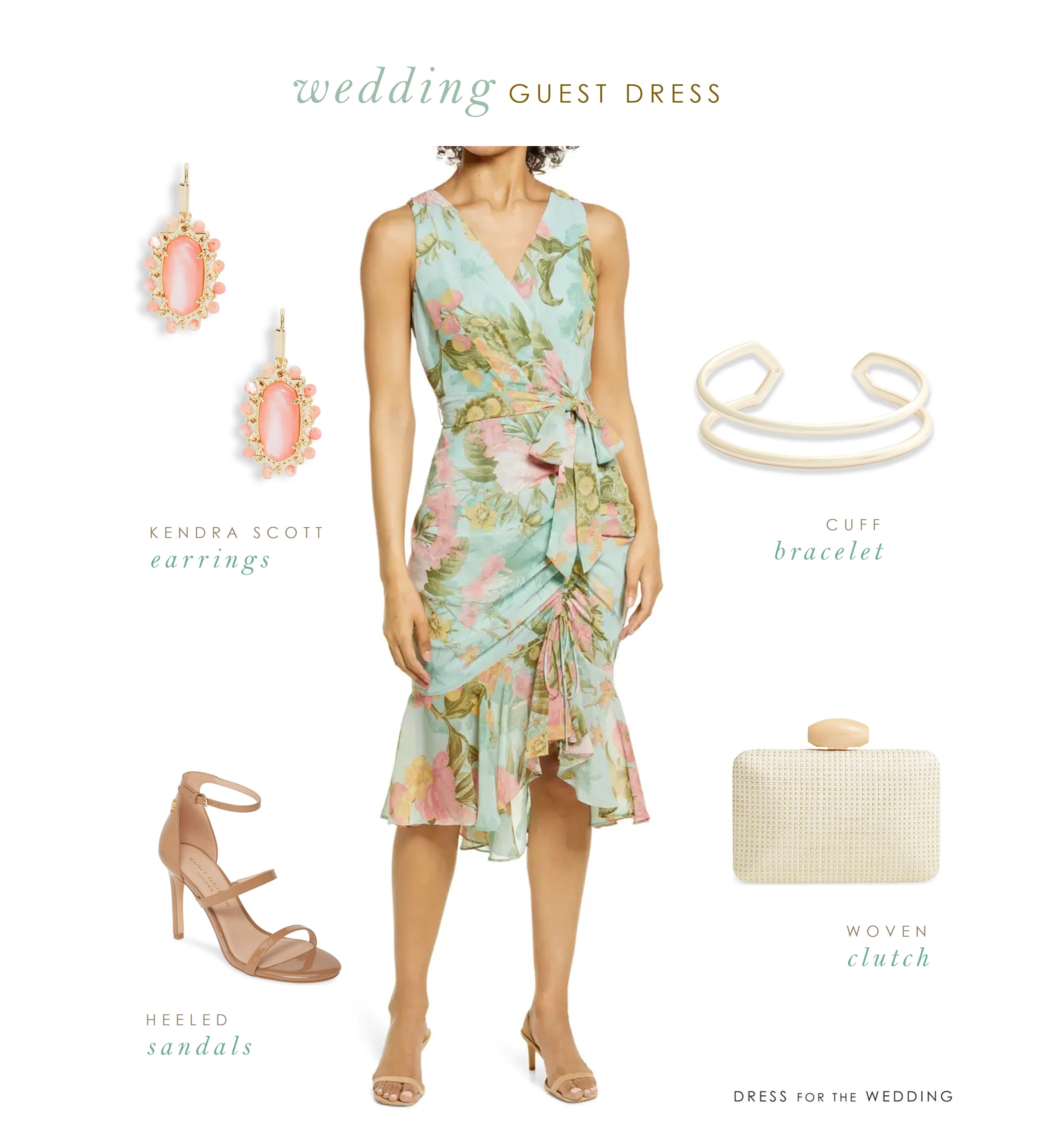 A collage of a wedding guest outfit with agreen dress, earrings, bracelet, shoes and clutch